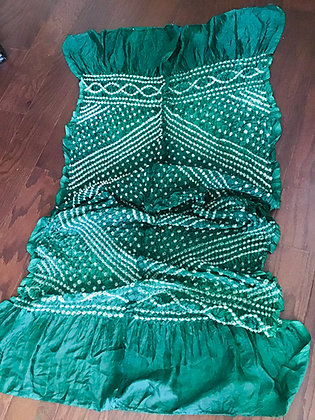 Green Bandhani Silk Dupatta