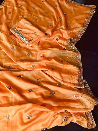 Beautiful Orange Chiffon Saree