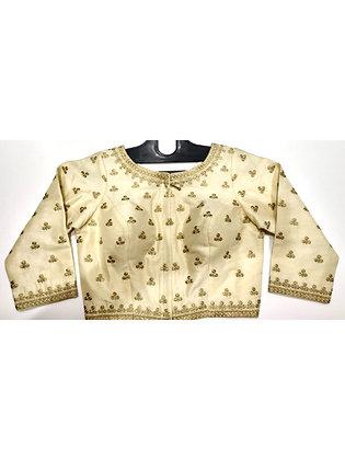 Cream Silk Embroidered Blouse