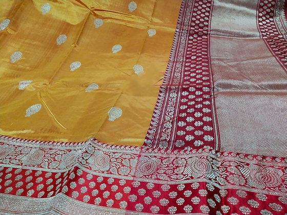 Evergreen Yellow Red Pure Katan Banarasi Silk Saree