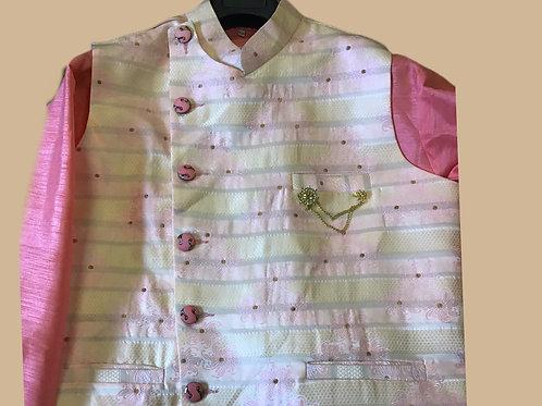 Alluring Pink Men Kurta Jacket Set