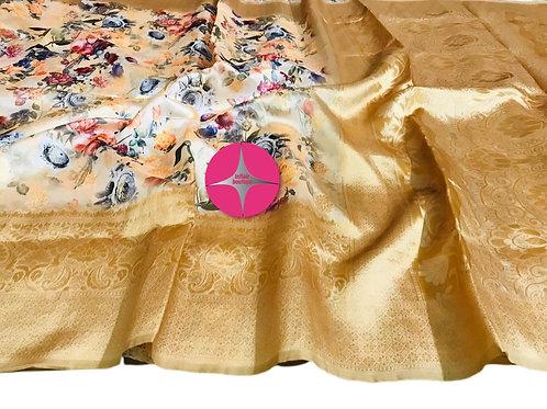 Stunning Yellow Raw Silk Digital Floral Print Saree