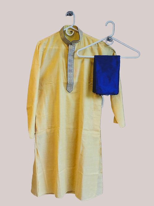 Yellow Blue Men Kurta Pajama