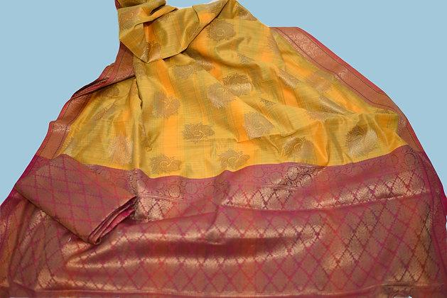 Yellow Marron Matka Silk Saree