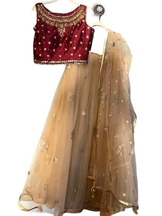 Enchanting Red Golden Lehanga Choli