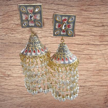 Enamel Filled Pearl Earring