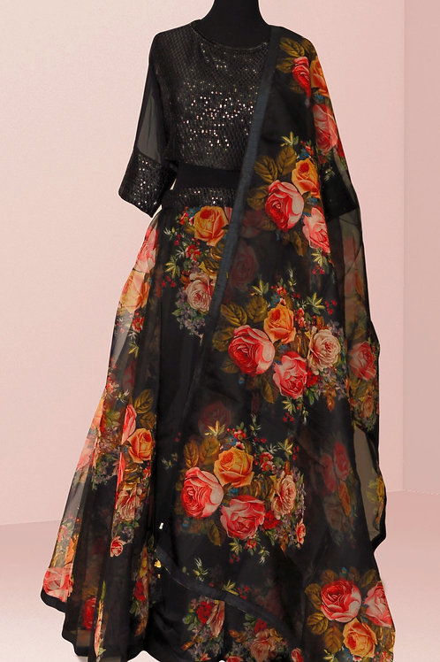 Black Floral Lehanga Choli