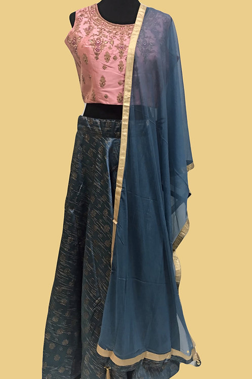 Blue Pink Lehanga Choli
