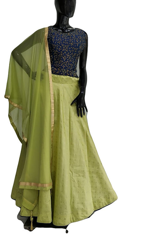 Green Blue Lehanga Choli