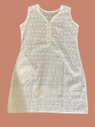 White Straight Kurti in Cotton