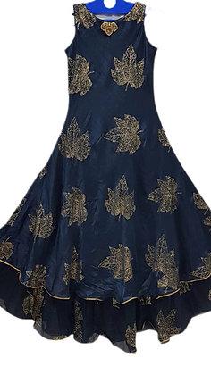 Beautiful Printed Silk Blue Kurti