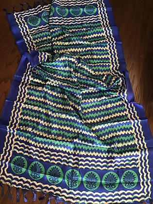Pretty Blue Green Printed Art Silk Dupatta