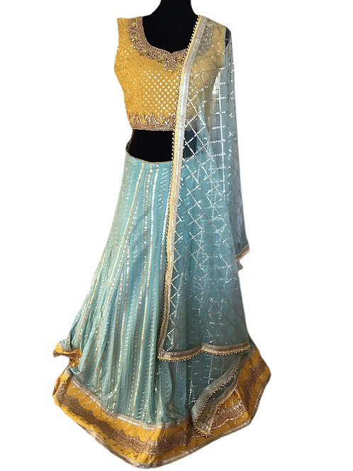 Gorgeous Georgette Blue yellow Lehanga Choli