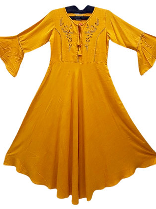 Beautiful Cotton A Line Kurti in Yellow