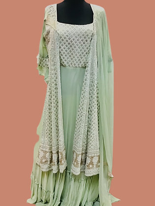 Mint Green Abaya style Suit