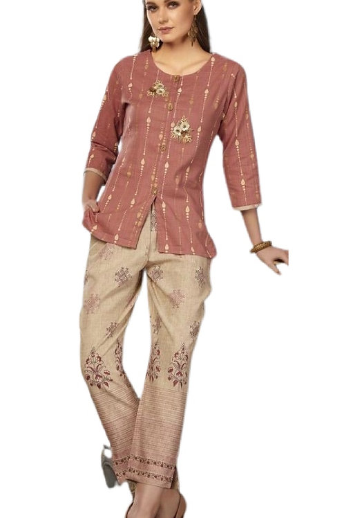 Pink Cotton Pant Set