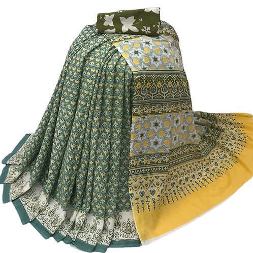 Green Bagru print Cotton mulmul Saree