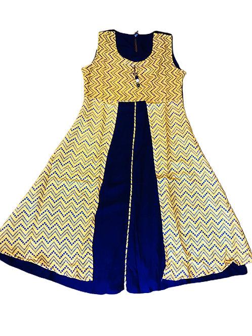 Girls Yellow Blue Flared Kurti