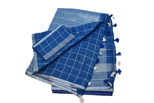 Blue Linen Check saree
