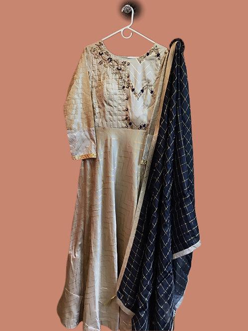 Trendy Designer Soft Silk Indian Salwar Suit with Attractive Blue Dupatta