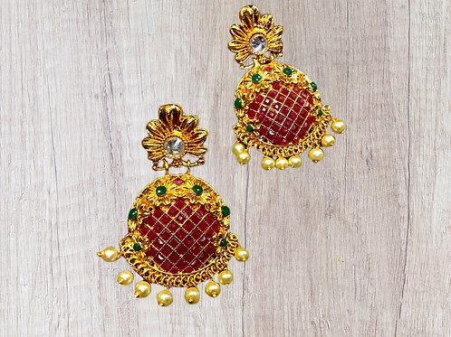 Red Green Chandbali Earring