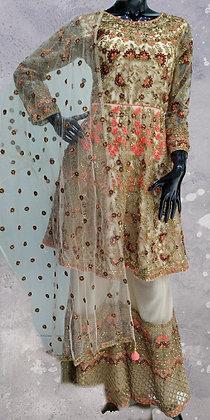 Beige Sharara Suit Set
