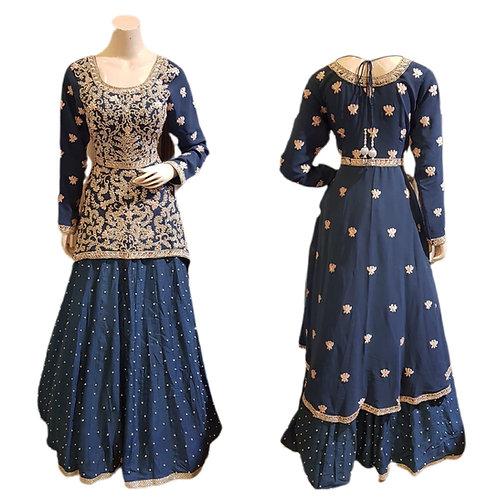 Designer Blue  High low Top with Lehanga