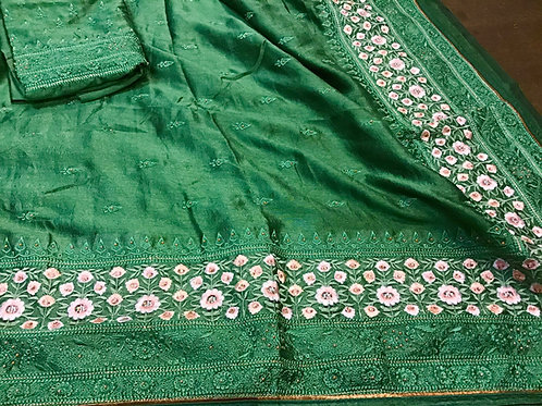 Basil Green Chiffon silk Saree