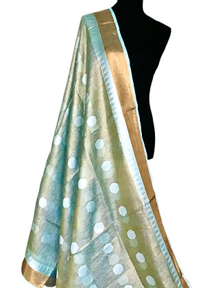 Light Sky Blue Tissue Linen Weaving bota Saree