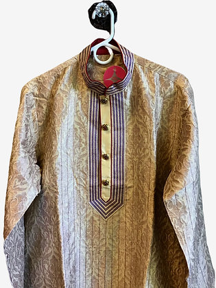 Designer Golden Men Kurta Pajama