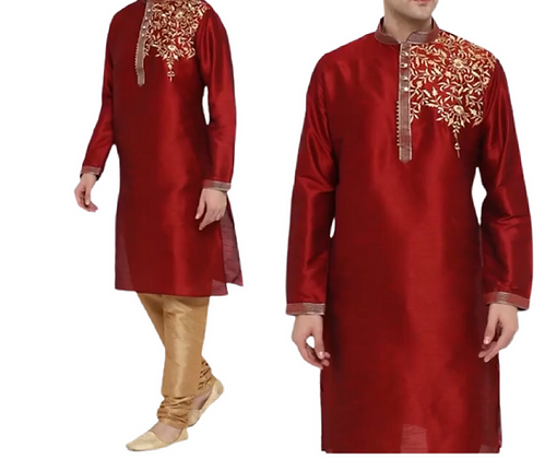 Cheerful Embroidered Red Kurta Set