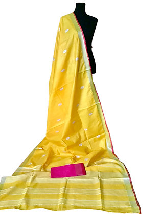 Pretty Yellow Embroidered Linen Saree