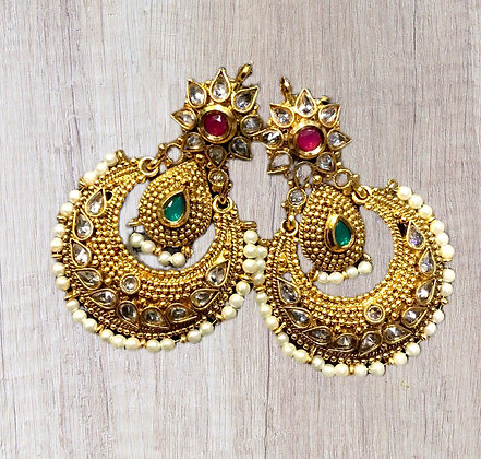 Beautiful Red Green Chandbali Earring
