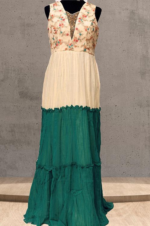 Cream Green Chiffon Gown