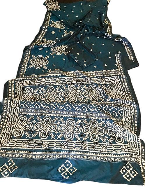 Amazing Blue Bangalore Silk Saree with Gujrati stitch