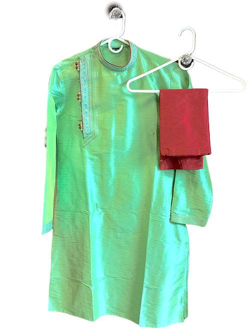 Trendy Green Maroon Men Kurta Pajama
