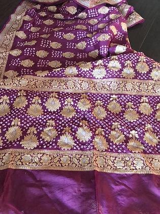Purple Godhwaal silk Bandhni saree