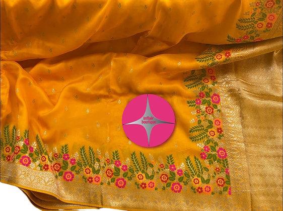 Splendid Yellow Munga Banarasi Silk Saree