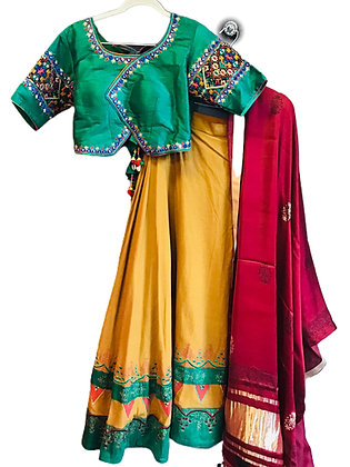 Designer yellow Green Lehanga Choli