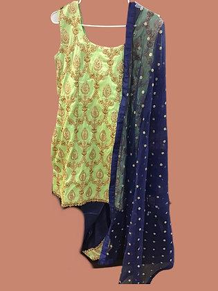 Blue Green silk  Dhoti Suit Set