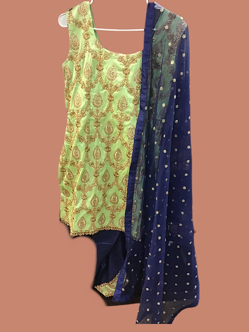 Blue Green silk  Dhoti Suit Set