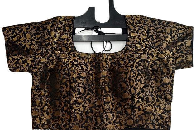Gorgeous Black Golden Saree Blouse