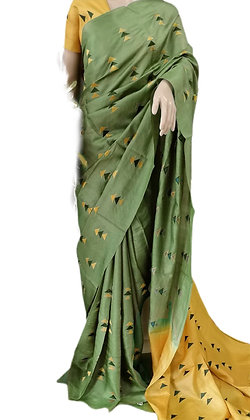 Pretty Green Katan Silk Saree