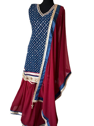 Lovely Blue and Maroon Shrara Suit set