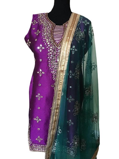 Gorgeous Purple Green Patiala Suit