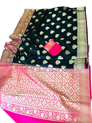 Black Banarasi Handloom katan Silk Saree