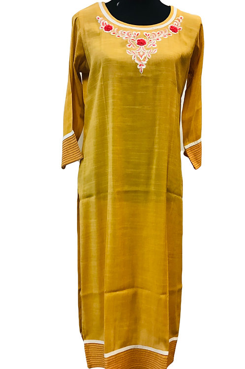 Yellow Cotton Straight Kurti