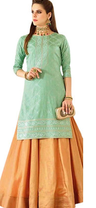 Orange Lehanga with Green Long Top