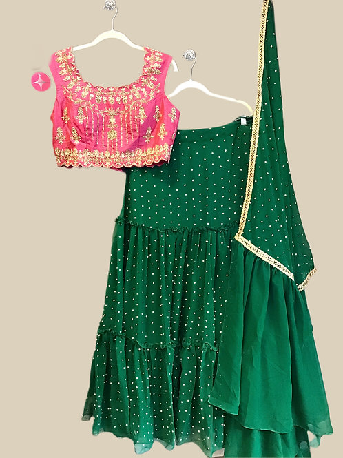 Gorgeous Georgette Green Pink Lehanga Choli