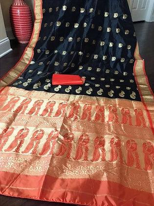 Black Orange Paithani Silk Saree